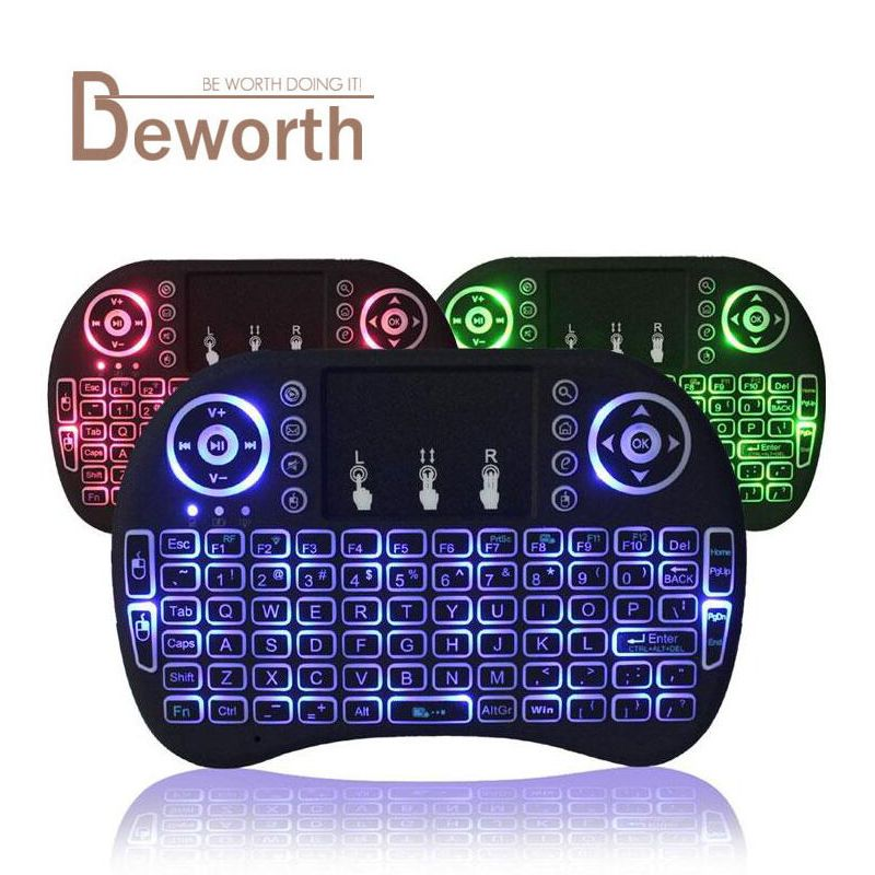 Backlight i8 English Russian 2.4GHz Wireless Keyboard Air Mouse with Touchpad Handheld Backlit for Android TV BOX Smart Mini PC