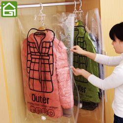 1 unid vacío bolsas de almacenamiento de ropa plegable espacio Saver ropa organizador de compresión sello de vacío de almacenamiento sacos con percha