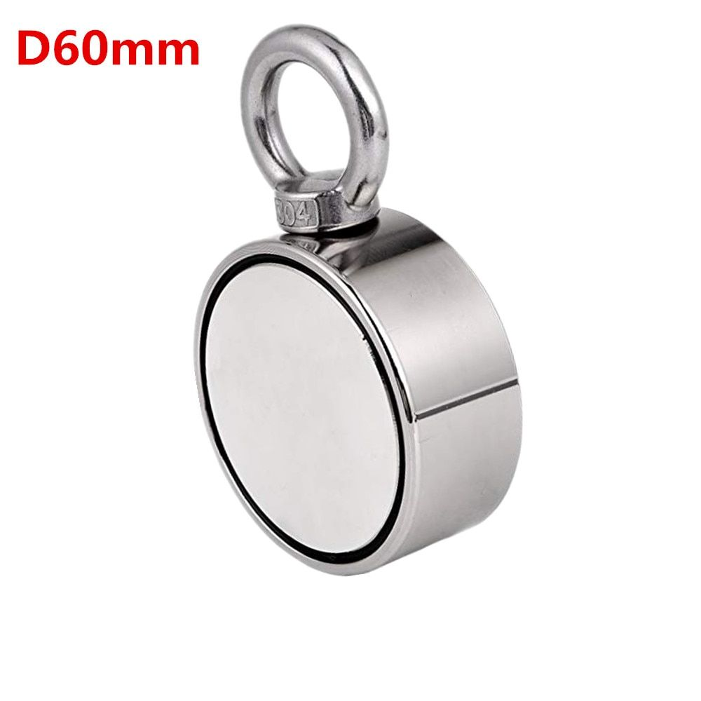 1pc D60mm Holder strong powerful fishing salvage Double-side neodymium Magnets Pulling Mounting Pot with ring gear sea equipment