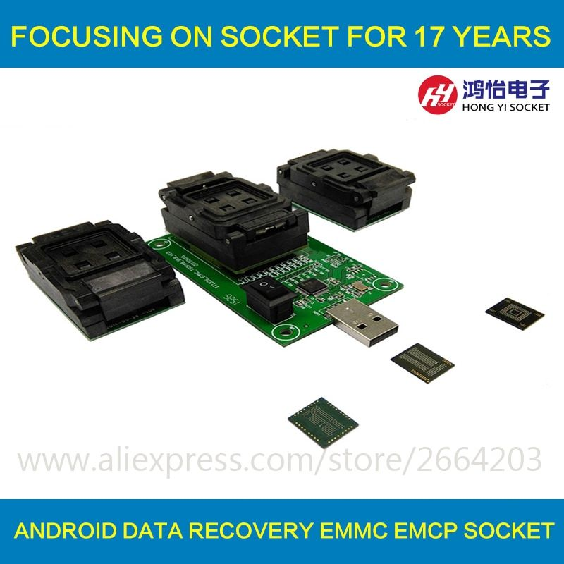 3 IN 1 eMMC eMCP Testsockel BGA153/169 BGA162/186 BGA221 Reader 11,5x13mm 12x16mm 12x18mm 14x18mm Flash Daten Recovery
