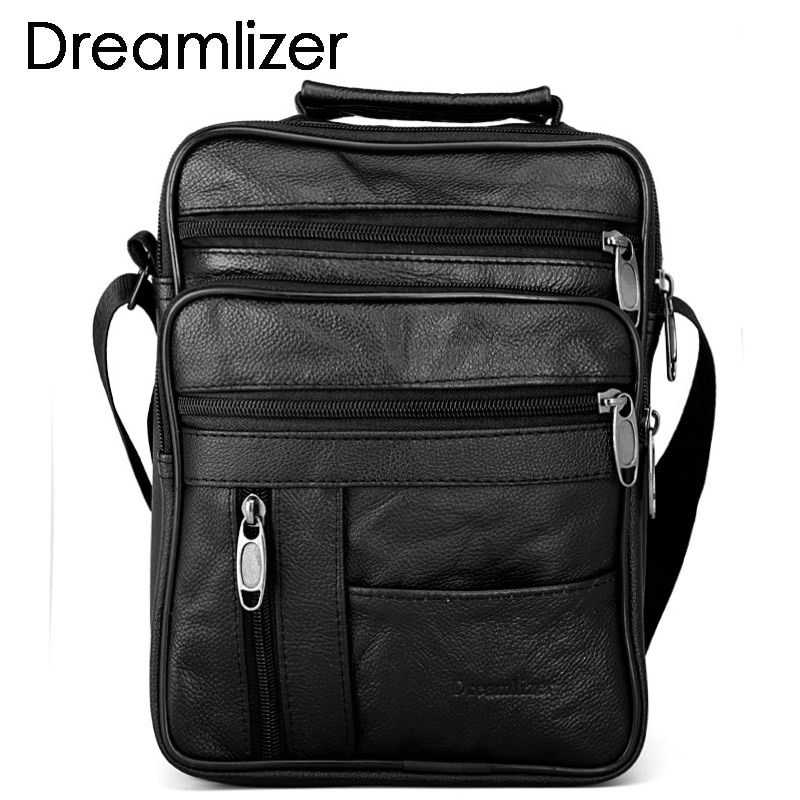 Dreamlizer Real Cowhide Leather Men Handbags Black Male Messenger Bags Men's Small Strap Adjustable Briefcase Man Crossbody Bags