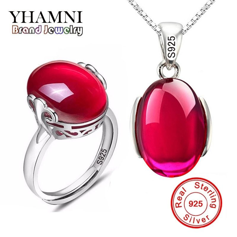 YHAMNI Fashion Big Natural Stone Ring Necklace Sets Pure 925 Solid Silver Red Crystal Bridal Jewelry Sets for Women AS001