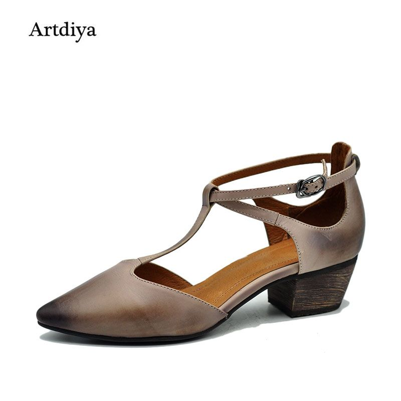 Artdiya Original Spring New Women Sandals Thick Heels 4cm sandals Pointed Toe Retro Handmade Shoes 1603