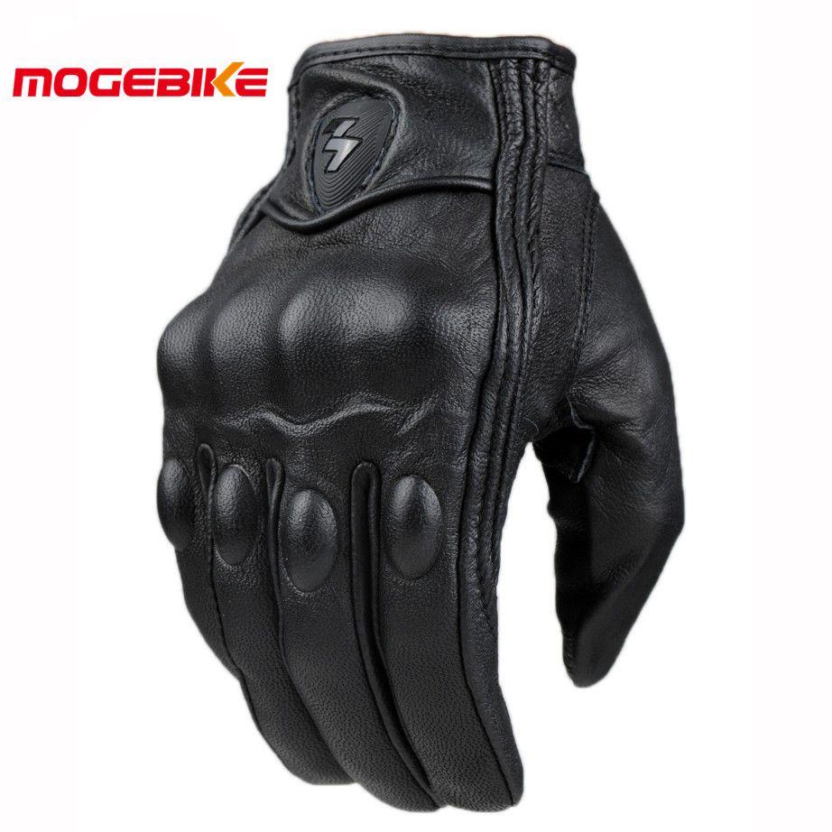 Rétro poursuite perforé en cuir véritable Moto gants Moto étanche gants Moto engrenages de protection Motocross gants cadeau