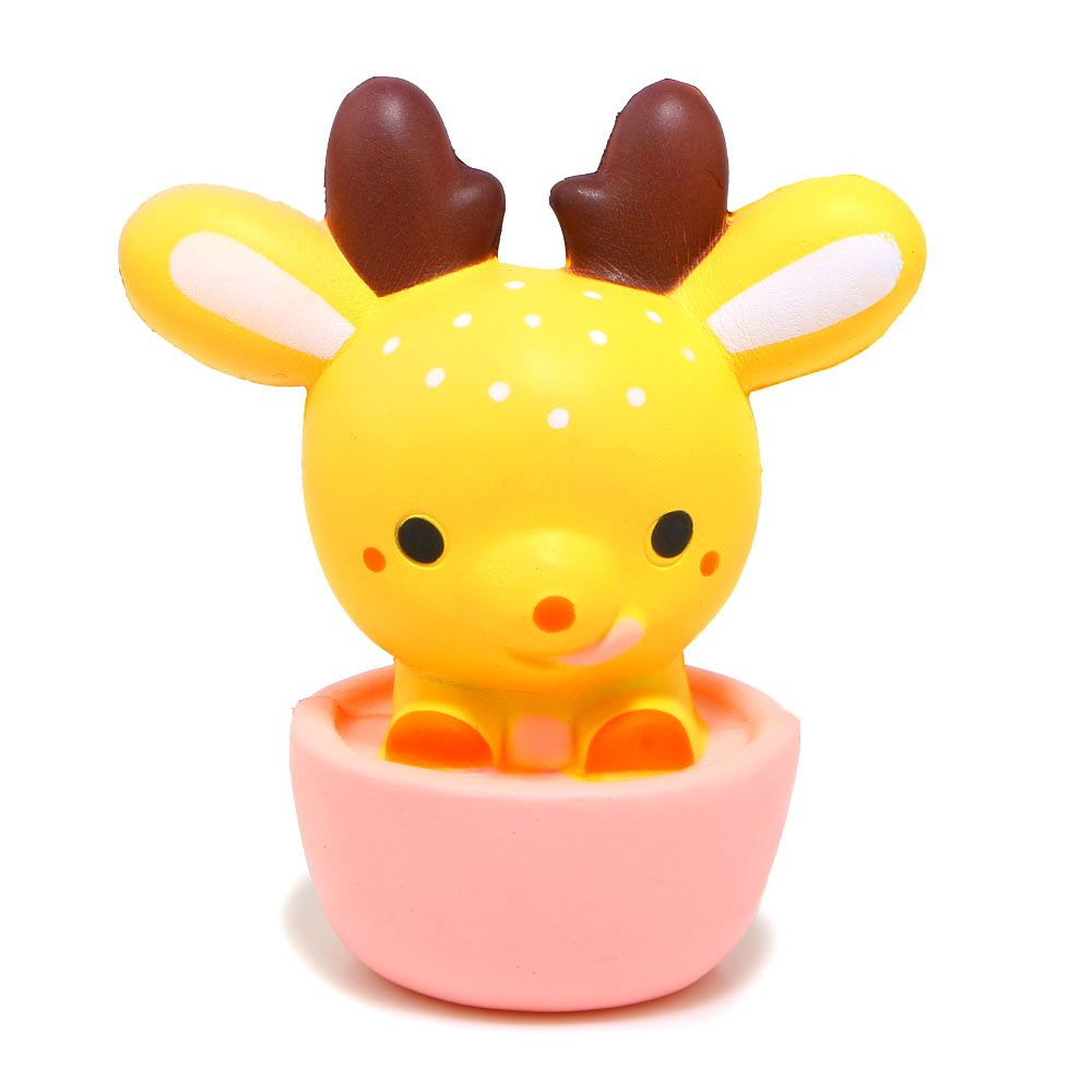 New Arrived 16CM Kawaii Jumbo Cup Deer Squishy Super Slow Rising Sweet Scented Soft Doll Phone Strap