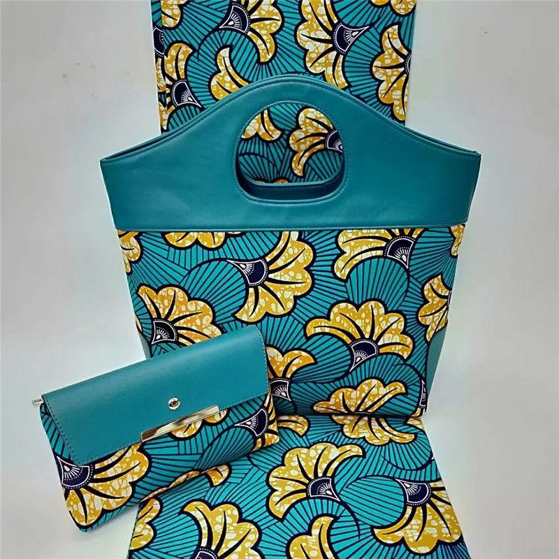 New design african wax bags set,6 yards super wax dutch prints fabric 100%cotton With Leather Patchwork fashion Handbags !ybg822