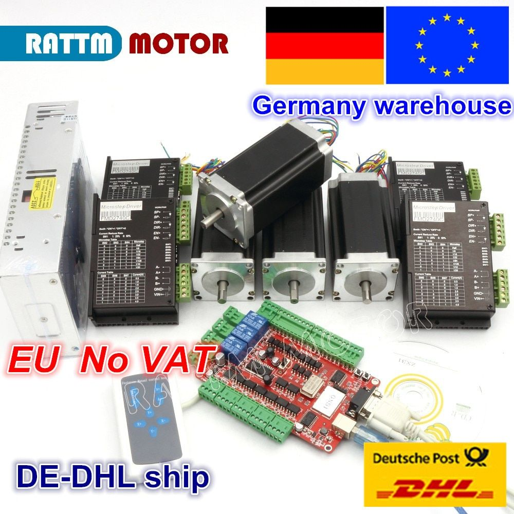 DE free VAT 4 Axis USBCNC Controller kit Nema23 Stepper Motor 425oz-in 112mm,3A Dual Shaft & 2740C Driver& 400W 36V power supply