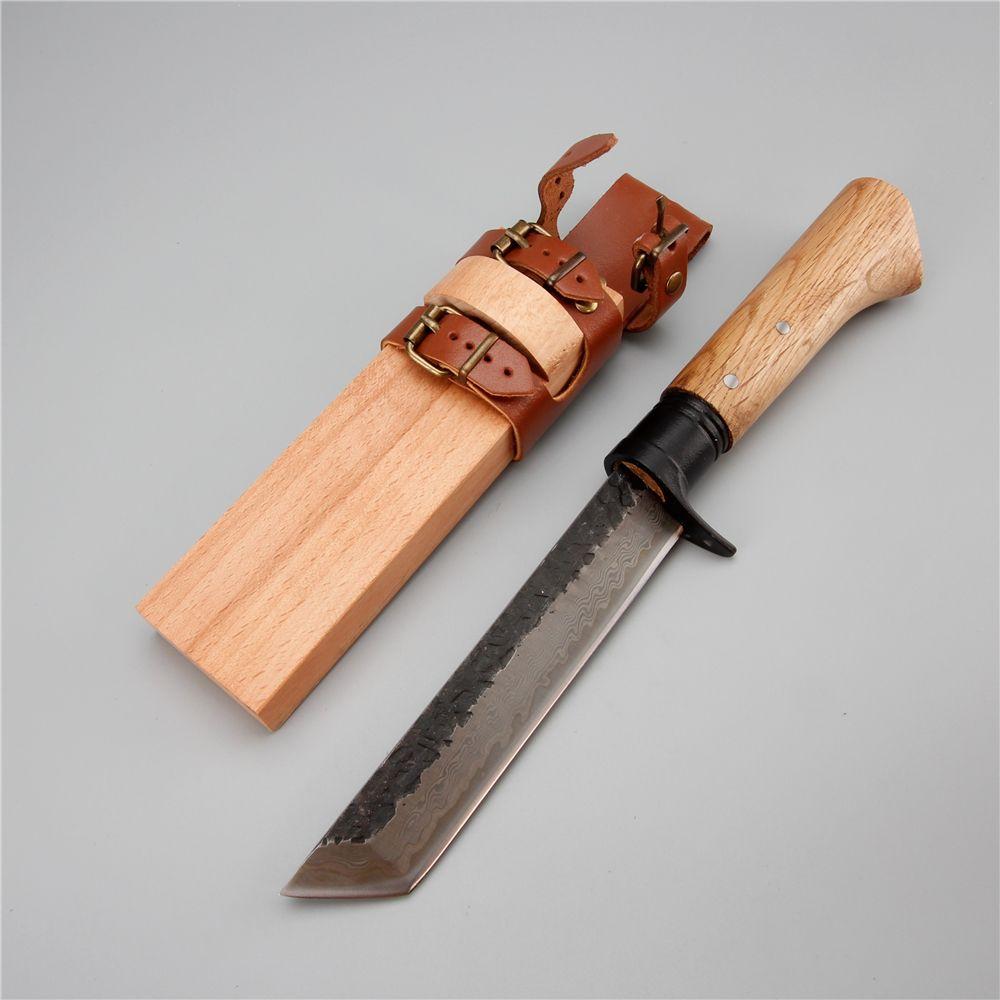 Couteau de chasse en acier damas manche en bois gaine peut porter forêt extérieure machette menuiserie camping survie léger couteau