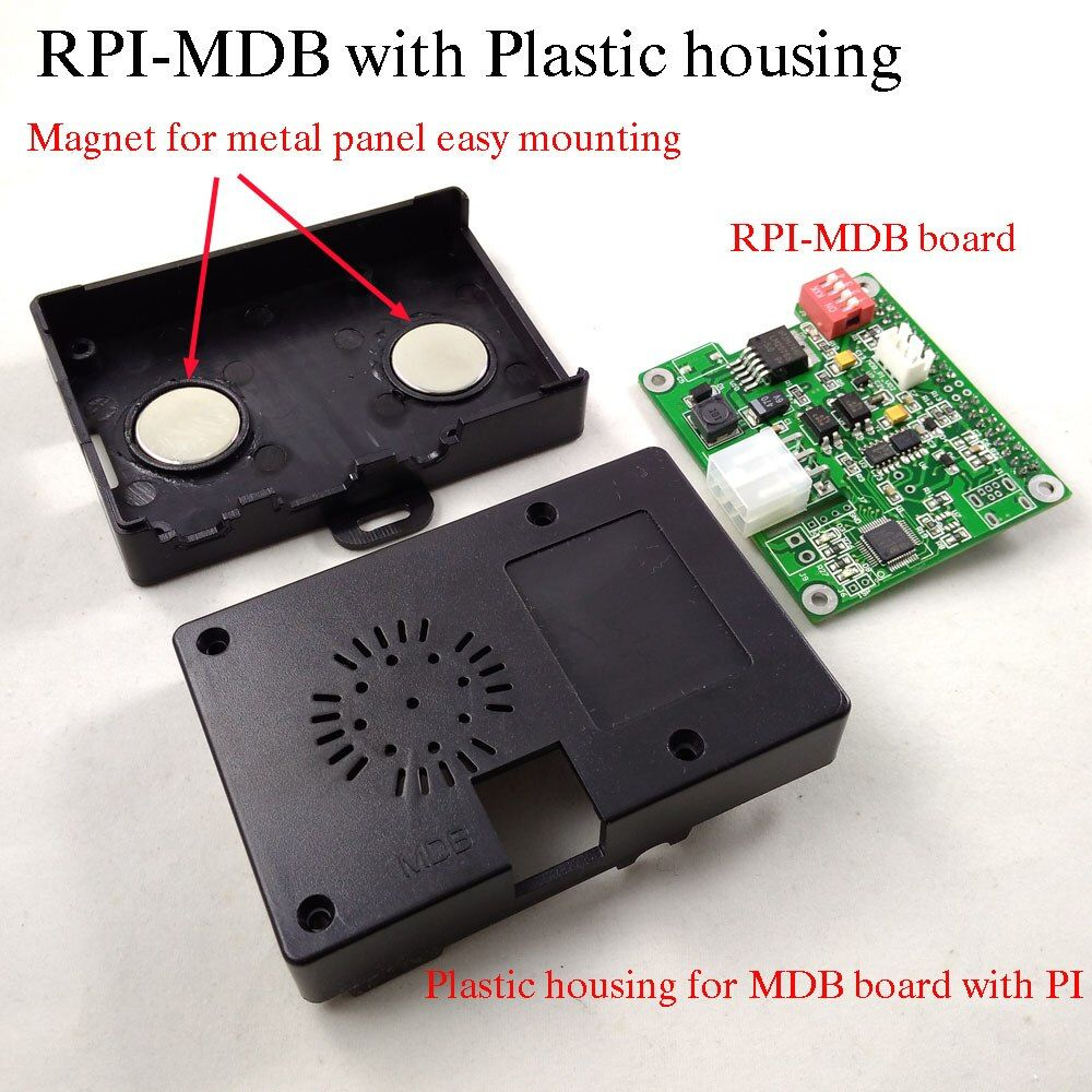 Raspberry pi to vending machine MDB cashless interface adapter board with housing working with bill acceptor,coin validator