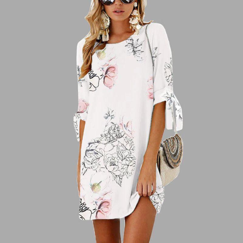 Femme imprimé Floral courte tenue décontractée 2019 robe d'été mode demi manches droite grande taille robe grande taille femmes vêtements 5XL