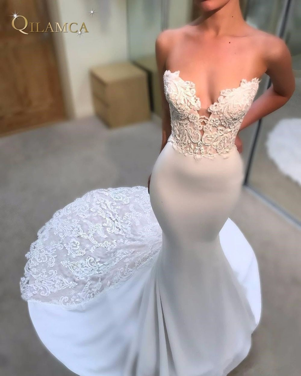 Sexy Sweetheart Bodice Wedding Dresses Mermaid Cathedral Train Open Back Weddings Bridal Gowns Appliques Lace Dress