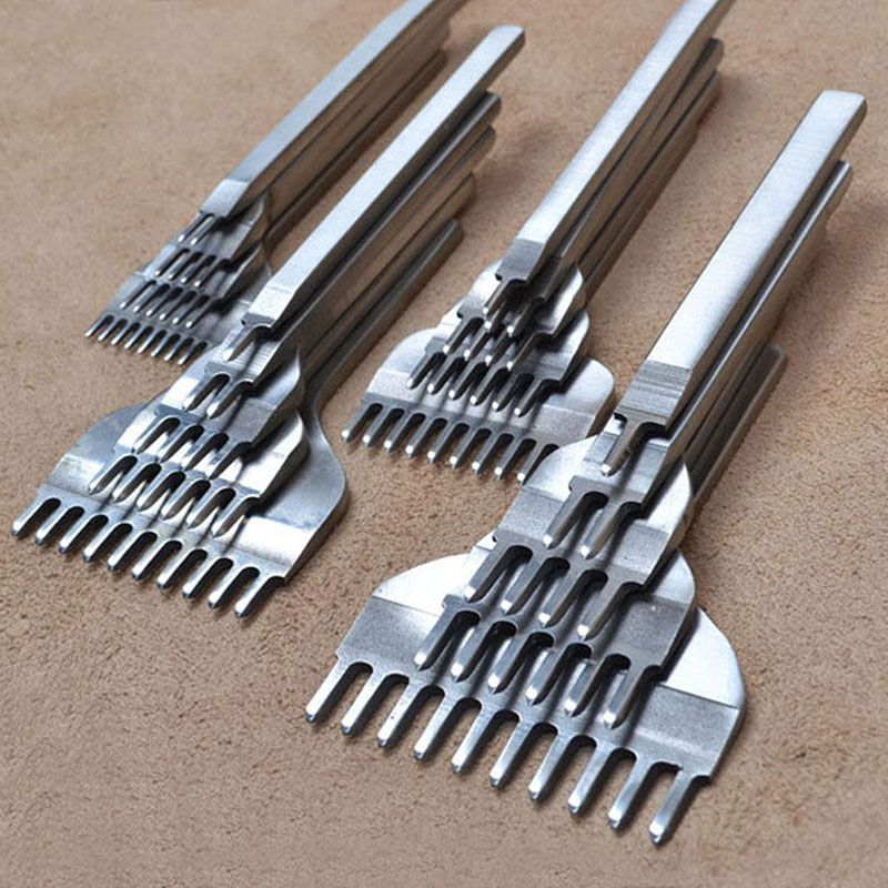4 pcs/ensemble outils d'artisanat En Cuir acier inoxydable 1 + 2 + 3 + 6 Trou Ciseau Gravure Couture outils de perforation Kit 3mm /4mm/5mm/6mm pour Vente