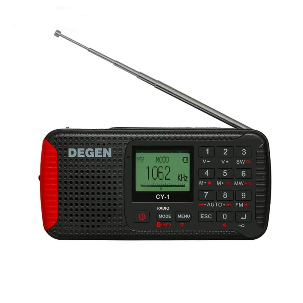 The Upgrade Version of DEGEN DE13 Solar CY-1 Dynamo Emergency FM /MW/ SW Alarm Clock Radio with LCD SOS Bluetooth MP3 Recorder