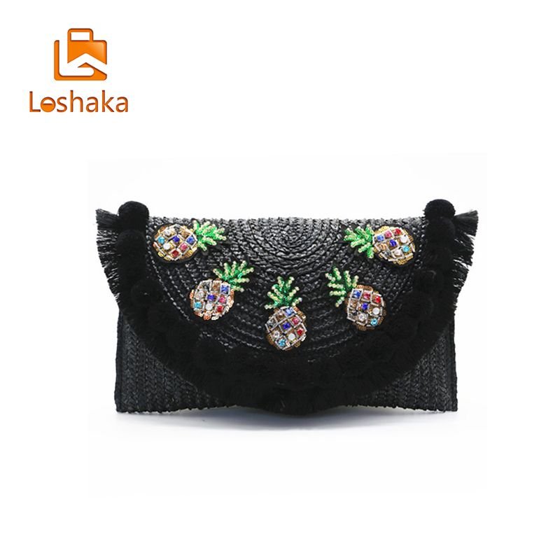 LOSHAKA Straw Knitting Bags Women Messenger Bohemian Style Women Shoulder Bags Luxury Handbags Women Bags Designer Bolso <font><b>MUJER</b></font>