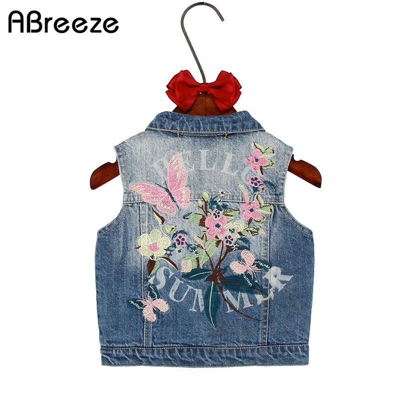 Enfants vêtement d'extérieur pour filles printemps automne enfants denim vêtements fille enfants floral papillon brodé manteau Cowboy gilets gilet