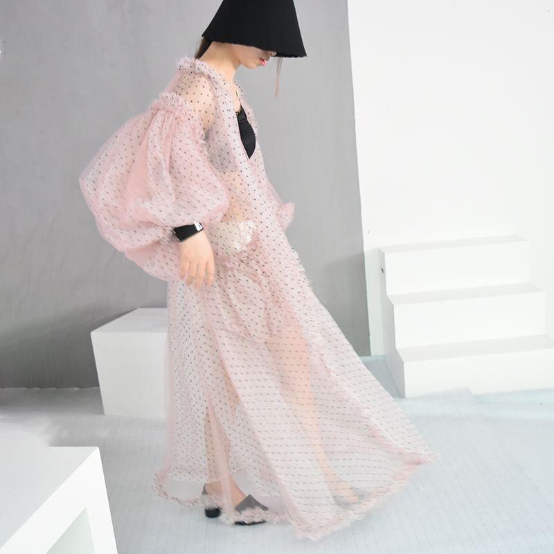 [EAM] 2018 New Summer V-collar Long Lantern Sleeve Dot Printed Perspective Big Size Long Shirt Women Blouse Fashion Tide JF394