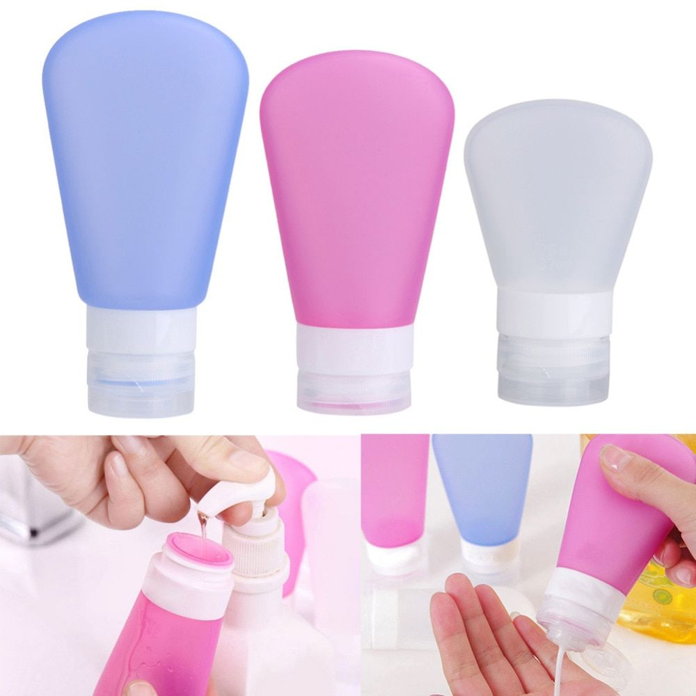 3 pièces Set bouteilles rechargeables de voyage Lotion de soin de la peau en Silicone shampooing Gel bouteille de compression 37/60/89 ml Tube conteneurs presser Kits