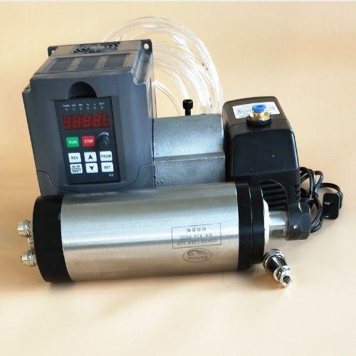 Werkzeugmaschinenspindel 3KW wassergekühlten ER20 spindelmotor 220 V, 4 lager, 24000 rpm & 4kw Inverter VFD 4TE 220 V & 100mm Befestigung