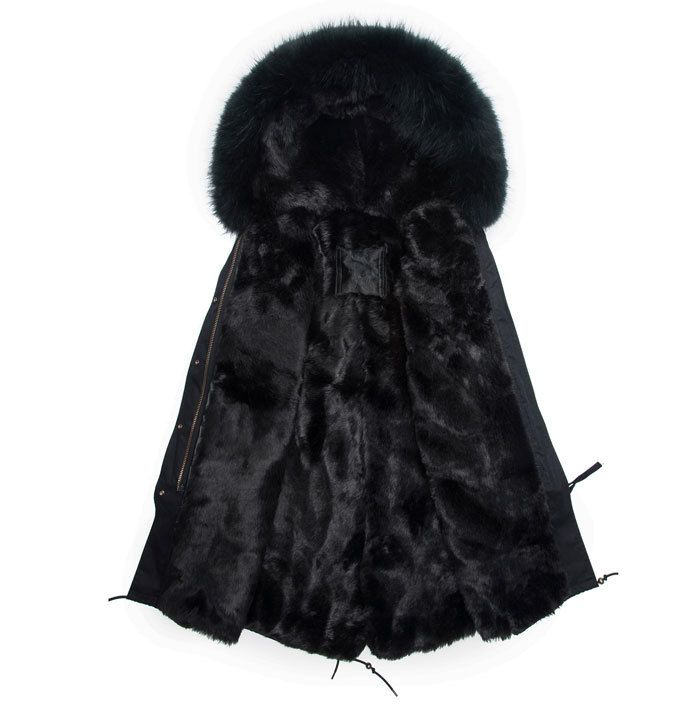 Fashion Men long style black parka hooded real fur coat winter Male jacket free freight
