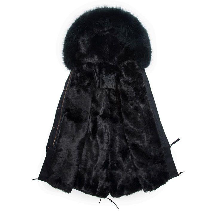 Mode Männer lange stil schwarz parka kapuze echten pelzmantel winter Männliche jacke freie fracht