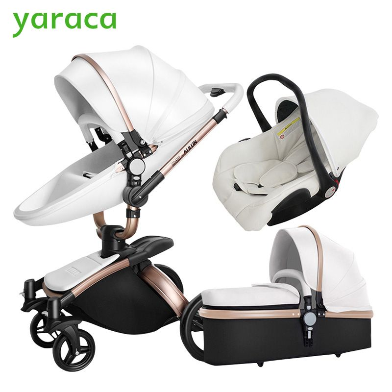 Baby Stroller 3 in 1 Car Seat High <font><b>View</b></font> Pram For Newborns Folding Baby Carriage 360 Degree Rotation Travel System Baby Trolley