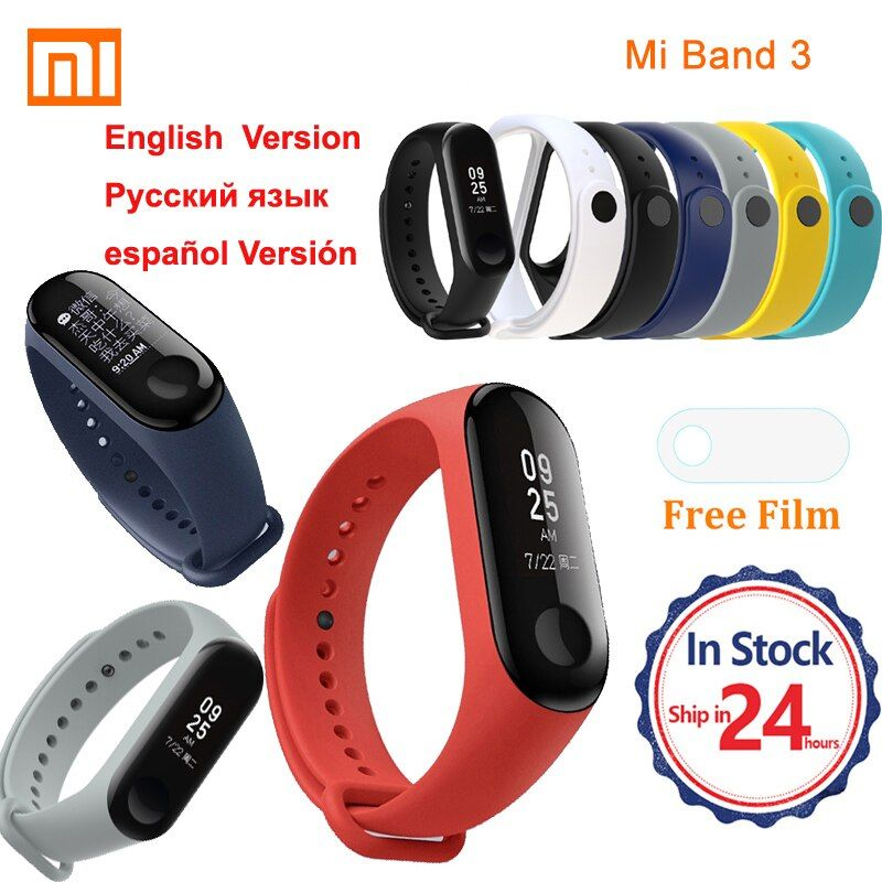 Original Xiaomi mi band 3 Smart wristband bracelet 3 instant message caller ID waterproof OLED forecast clock miband 3