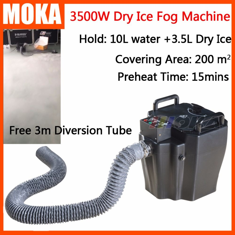 1 Pcs/lot 3500w dry ice machine low ground fog machine stage effect party machine water smoke machine dry ice effect 3m hose