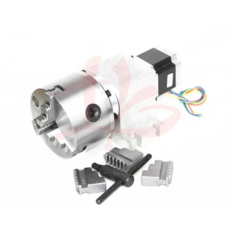 Russia tax-free shipping Rotary axis 14-100-100A 80mm 3 jaw chuck for mini cnc router
