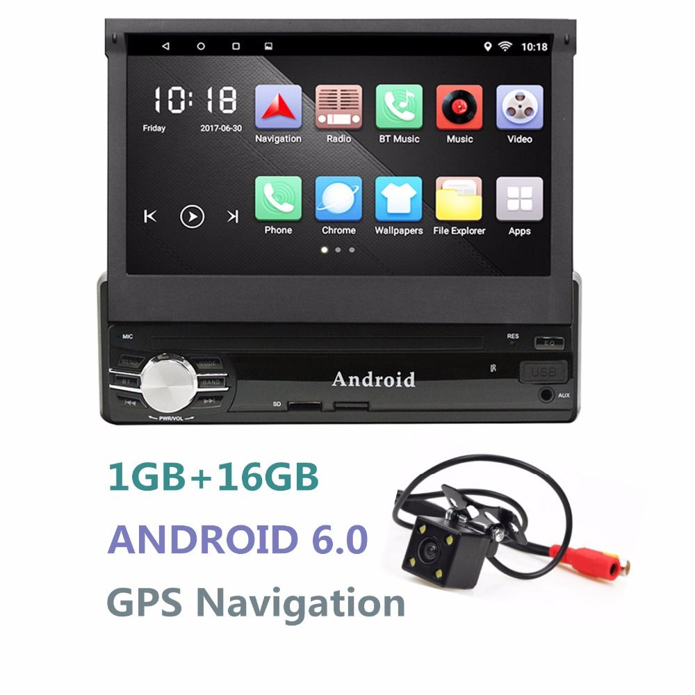 Android Single 1DIN Car Radio <font><b>Stereo</b></font> Quad Core 6.0 Touch Screen Car GPS Navigation Radio Player Bluetooth/WIFI/Mirror Link/AM/FM