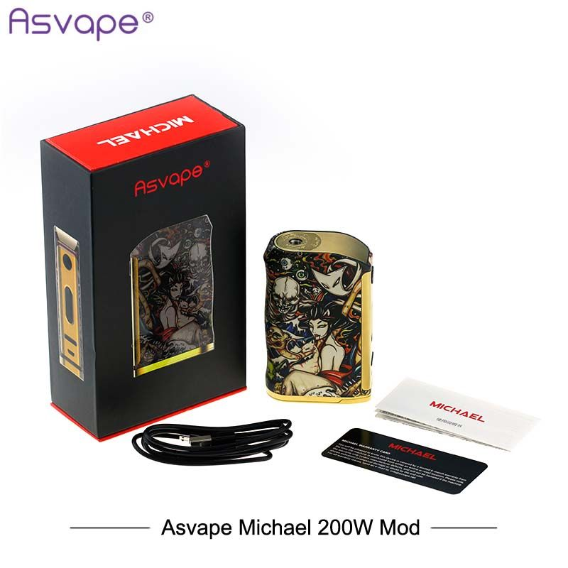 New Version Original ASvape Michael 200W Box Mod Fashion USA Electronic Cigarettes Mod Devil Night Edition Vaporizer Mod 200w