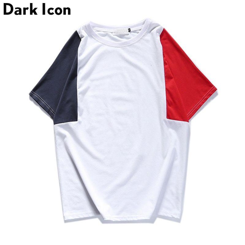 FONCÉ ICÔNE Patchwork Streetwear Mens T-shirt À Manches Courtes 2017 Été Nouveau Mode Couleur Contraste T-shirt Hommes Coton Noir Blanc