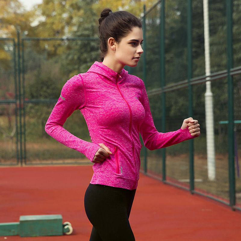 Maxmessy Spring Women Sports Hoodies Tennis Jacket Workout Outerwear Fitness Sweatshirt Top Running Camping Sportswear