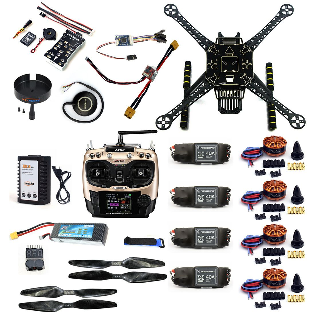 F19457-C DIY RC Drone Full Kit S600 Frame PIX 2.4.8 Flight Control 40A ESC 700KV Motor AT9S TX with Battery Charger XT60 Plug