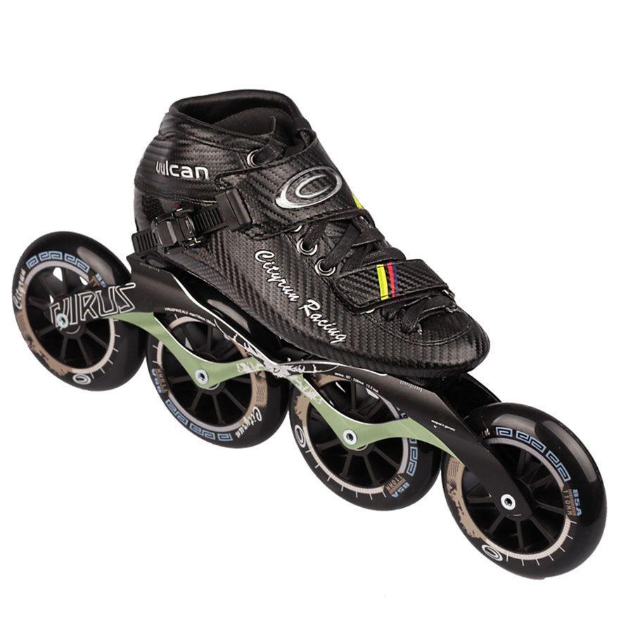 Cityrun Geschwindigkeit Inline-skates Kohlefaser Professionelle Wettbewerb Skates 4 Räder Racing Skating Patines Ähnliche Power