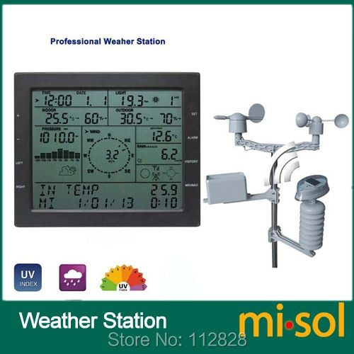 MISOL / professional weather station / wind speed wind direction rain meter pressure <font><b>temperature</b></font> humidity UV