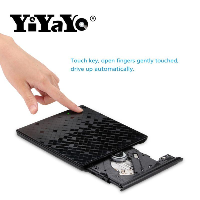 YiYaYo Nouveau USB 3.0 Losange Conception Portable Haute-Vitesse DVD +/-RW Graveur Touch Control CD + /-RW Lecteur Pour Macbook/Fenêtre OS Calculer