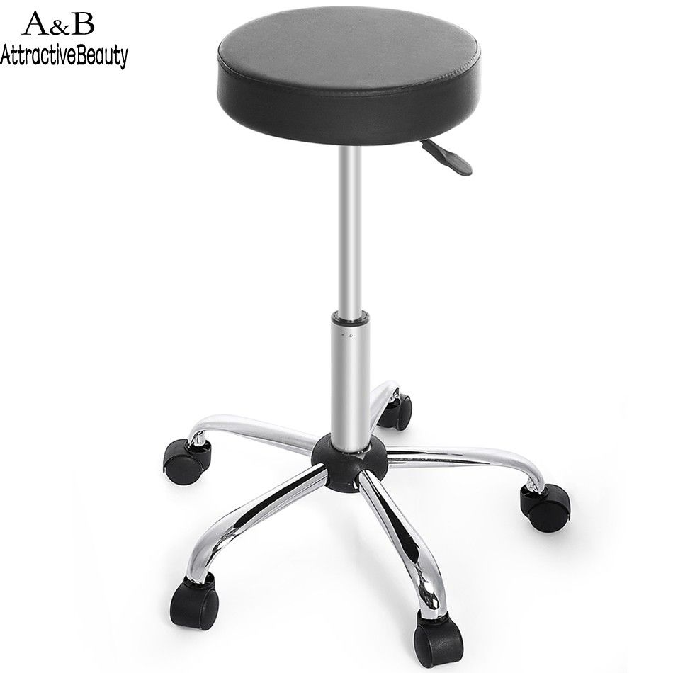 New Synthetic Leather Round Barstool Adjustable High Wheels Bar Stool Modern Chair Black N20*