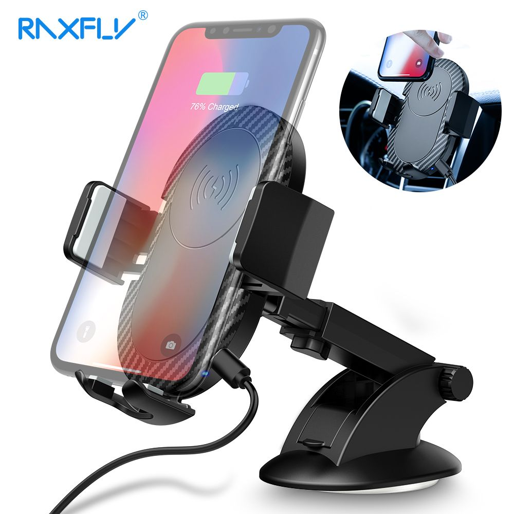 RAXFLY Car Wireless Charger For iPhone XS Max XR XS 8 Plus X Wireless Charger Fast Car For Samsung Note 9 8 S9 Plus S8 Plus S8