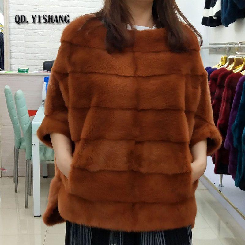 Reale natürliche nerz pelz neue mode frauen jacke fledermaus shirt mantel herbst und winter kurze beliebte nerz pelzmantel QD. YISHANG
