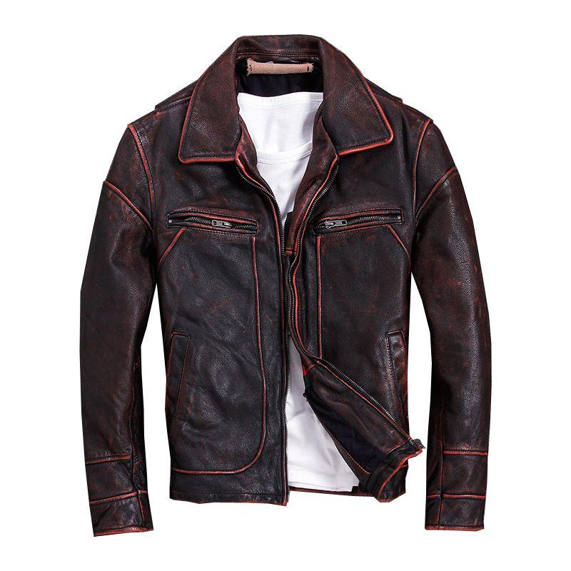 2018 Vintage Rot Braun Männer Amerikanischen Casual Stil Leder Jacke Plus Größe 5XL Echtem Rinds Herbst Leder Mantel FREIES VERSCHIFFEN