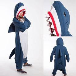 Kigurumi взрослых пижамы голубой костюм для косплея Акула Onesie Lemur Домашняя одежда пижамы унисекс Одежда для вечеринок для женщин Человек