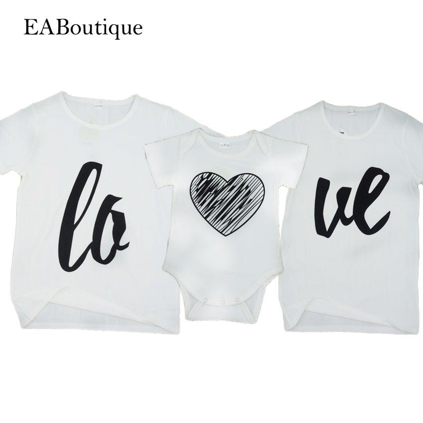 EABoutique americana carta de amor de la familia ropa a juego camisas de los pares de la familia camiseta al por menor