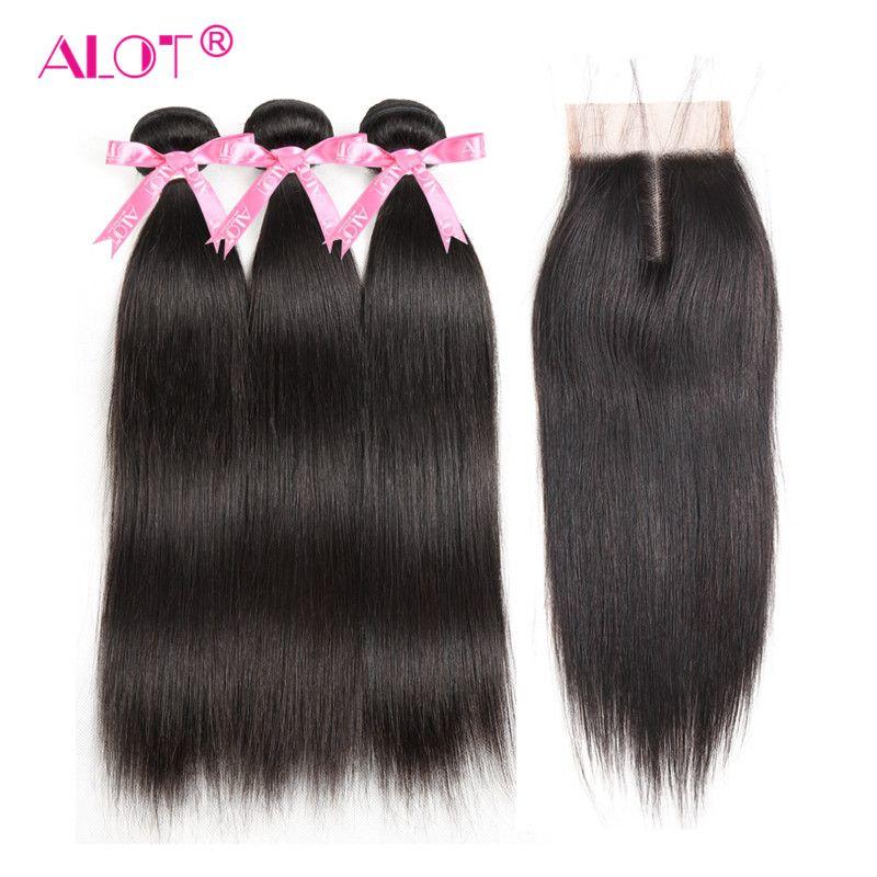 Alot Hair Brazilian Straight Human Hair Bundles With Lace Closure Middle Part Natural Black 3 Bundles Hair Weaves Non Remy Hair