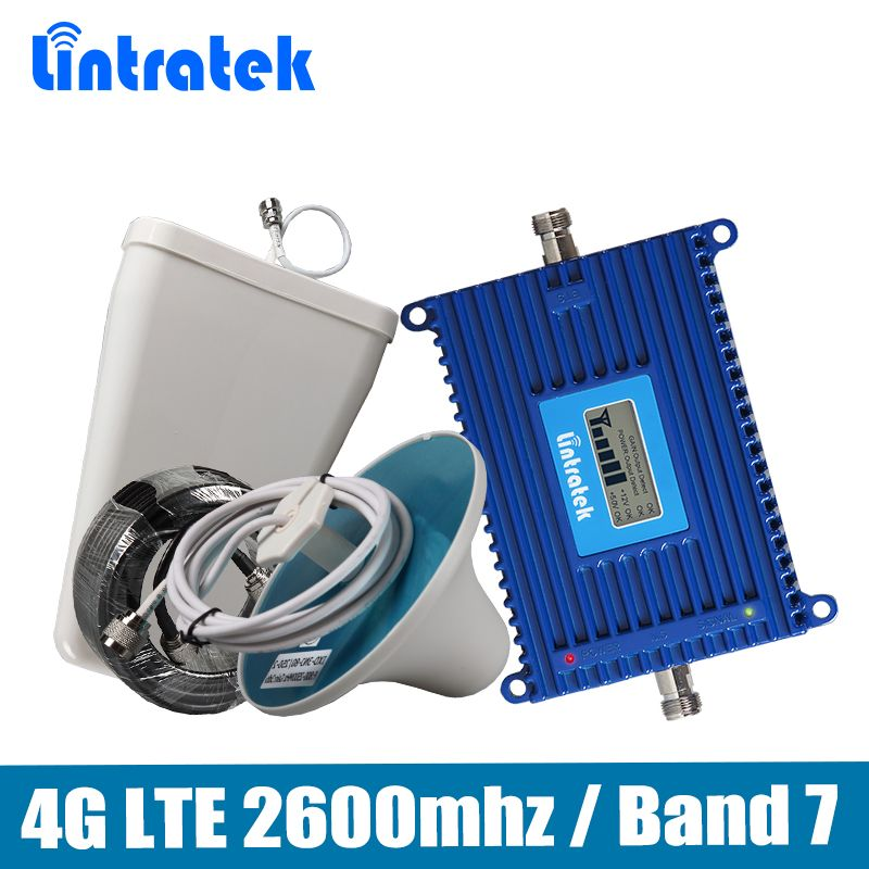 Gain 70dB Phone <font><b>Signal</b></font> Repeater 4G LTE 2600mhz (LTE Band 7) Mobile <font><b>Signal</b></font> Booster full set with LPDA/Ceiling Antenna 15M Cable