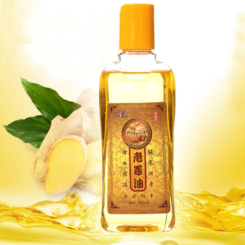 2Pcs/Lot Pure Plant Essential Oil Ginger Body Massage Oil 230ml Kneepad Thermal Body Ginger Essential Oil For Scrape Therapy SPA