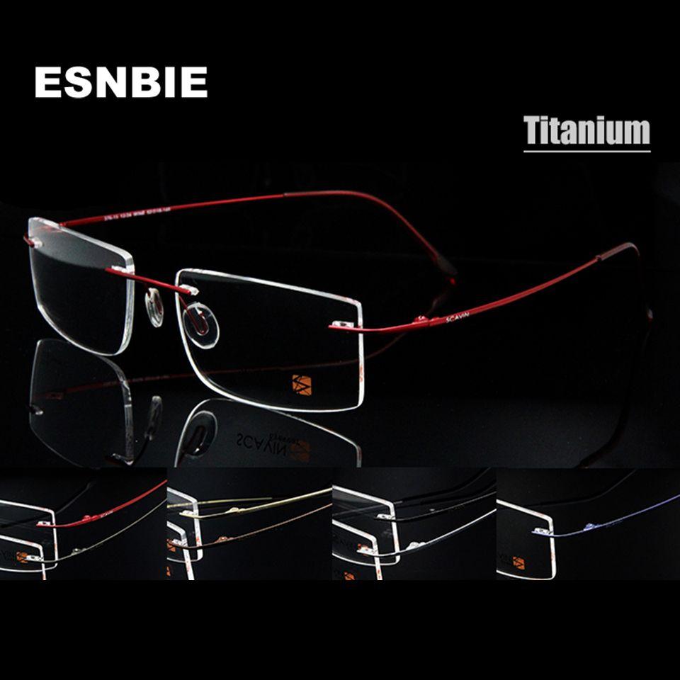ESNBIE Computer Rimless Titanium Glasses Frame men Memory Eyeglass Frames 7 Colors Square Shape Prescription Eyewear