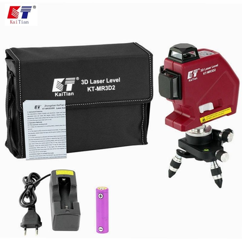 Kaitian 12 Lines 3D Laser Levels Self Leveling 635nm 360 Horizontal And Vertical Cross Super Powerful Red Lasers Beam Line Tools