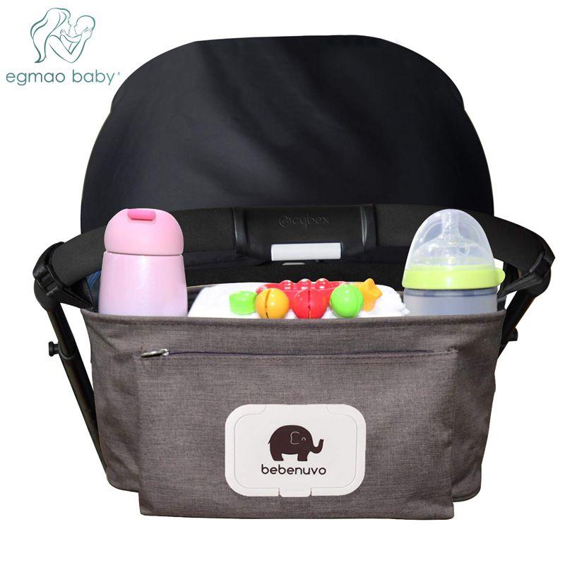 Sac organisateur de poussette de bébé avec poche de tissu et porte-gobelet espace de rangement Extra-grand sac d'accessoires de poussette de bébé sac à couches