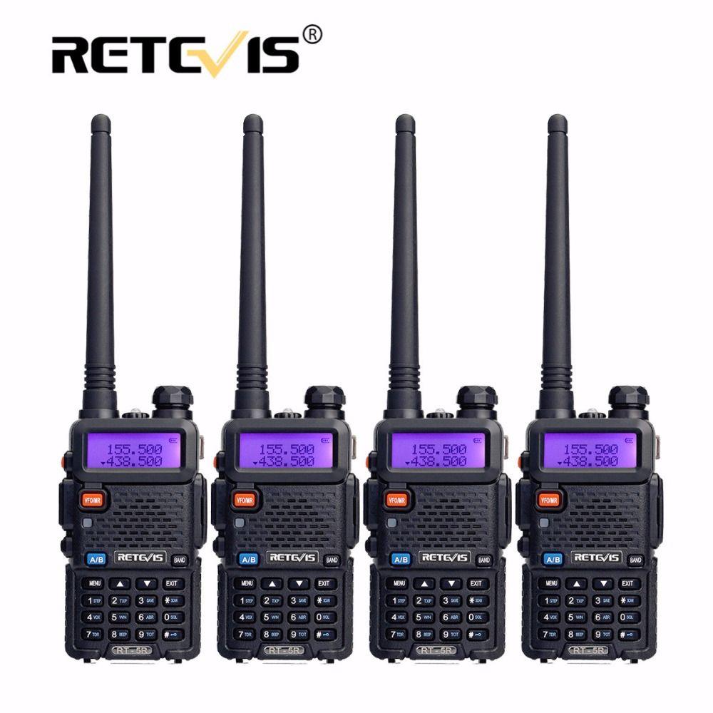 4 шт. Портативный Радио Двухканальные рации Retevis 5 Вт rt5r 128ch УКВ двухдиапазонный любительского Радио КВ трансивер 2 варианта радио станции rt-5r
