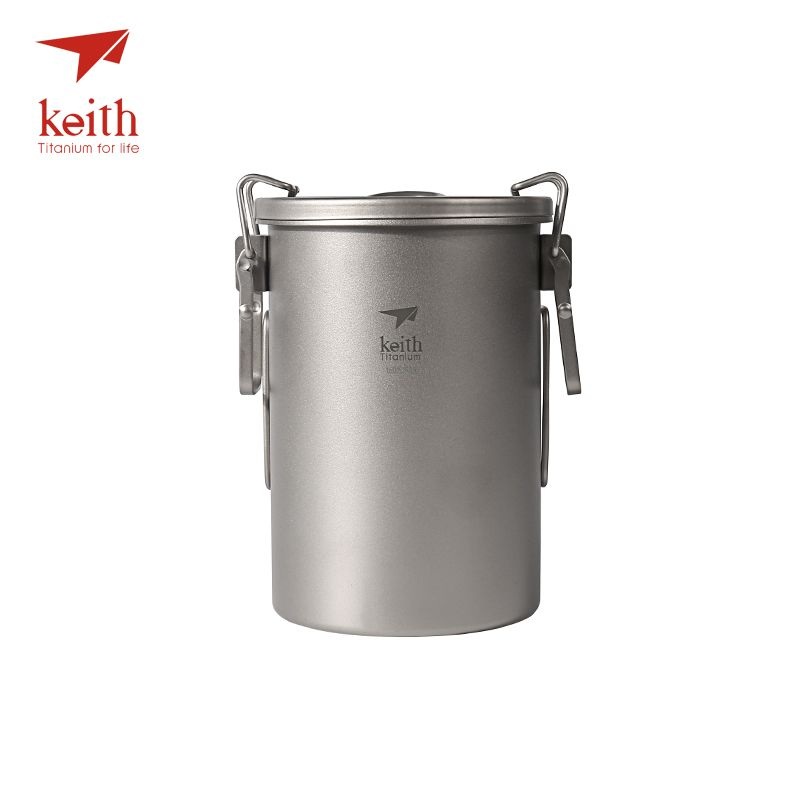 Keith Titanium Outdoor Camping Cooking Pot With Folding Handles Hiking Cooker Travel Picnic Cookware Utensils 900ml 256g Ti6300